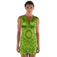 Magic Flowers In  The Deep Valley Of Paradise Wrap Front Bodycon Dress