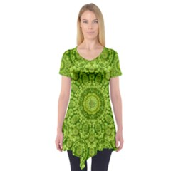 Magic Flowers In  The Deep Valley Of Paradise Short Sleeve Tunic