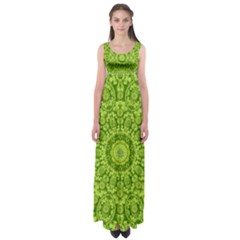 Magic Flowers In  The Deep Valley Of Paradise Empire Waist Maxi Dress