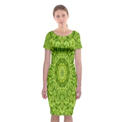 Magic Flowers In  The Deep Valley Of Paradise Classic Short Sleeve Midi Dress