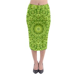 Magic Flowers In  The Deep Valley Of Paradise Midi Pencil Skirt