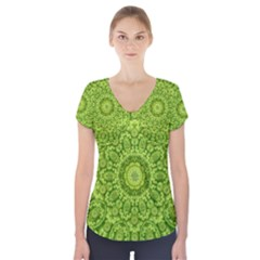 Magic Flowers In  The Deep Valley Of Paradise Short Sleeve Front Detail Top