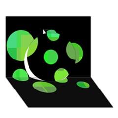Green circles Circle 3D Greeting Card (7x5)