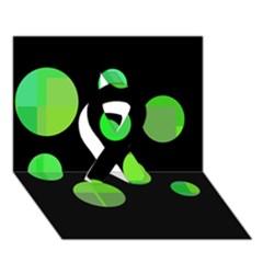 Green circles Ribbon 3D Greeting Card (7x5)
