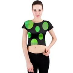 Green circles Crew Neck Crop Top