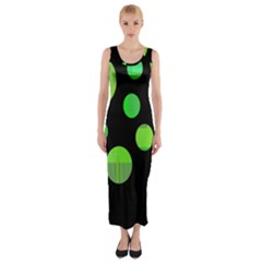 Green circles Fitted Maxi Dress