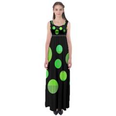 Green Circles Empire Waist Maxi Dress
