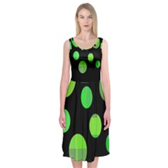 Green Circles Midi Sleeveless Dress