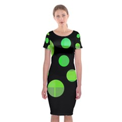 Green Circles Classic Short Sleeve Midi Dress
