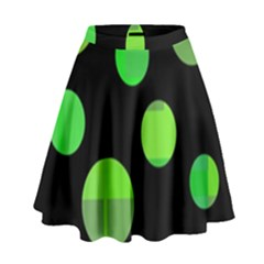 Green circles High Waist Skirt
