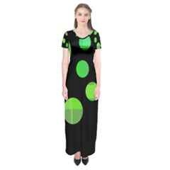 Green circles Short Sleeve Maxi Dress