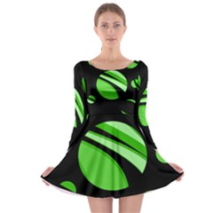 Green balls   Long Sleeve Skater Dress