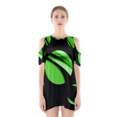 Green Balls   Cutout Shoulder Dress