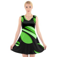 Green balls   V-Neck Sleeveless Skater Dress