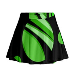 Green Balls   Mini Flare Skirt