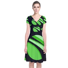 Green Balls   Short Sleeve Front Wrap Dress