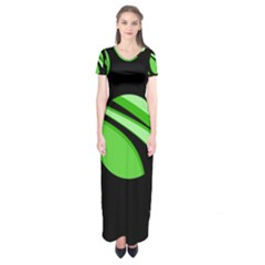 Green Balls   Short Sleeve Maxi Dress