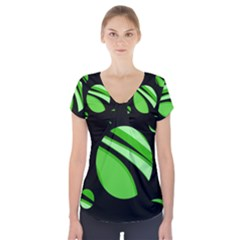 Green Balls   Short Sleeve Front Detail Top