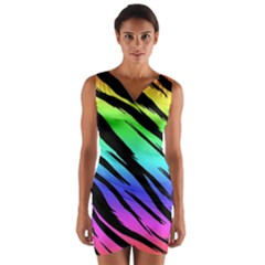 Rainbow Tiger Wrap Front Bodycon Dress