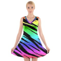 Rainbow Tiger V-Neck Sleeveless Skater Dress