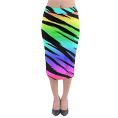 Rainbow Tiger Midi Pencil Skirt