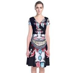 Super Secret Clown Business II  Short Sleeve Front Wrap Dress
