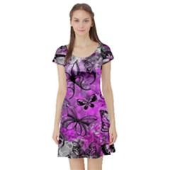 Butterfly Graffiti Short Sleeve Skater Dress