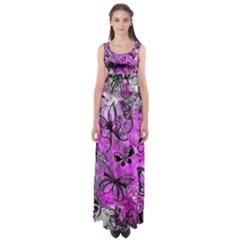 Butterfly Graffiti Empire Waist Maxi Dress