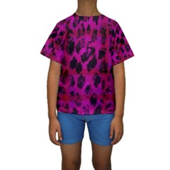Pink Leopard Kid s Short Sleeve Swimwear