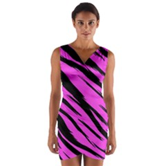 Pink Tiger Wrap Front Bodycon Dress