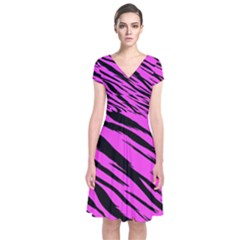 Pink Tiger Short Sleeve Front Wrap Dress