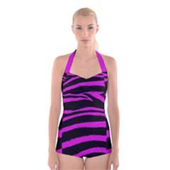 Pink Zebra Boyleg Halter Swimsuit
