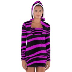 Pink Zebra Women s Long Sleeve Hooded T-shirt