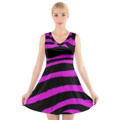 Pink Zebra V-Neck Sleeveless Skater Dress