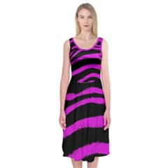 Pink Zebra Midi Sleeveless Dress
