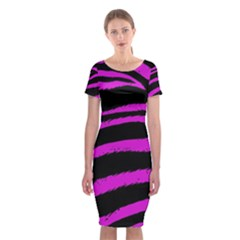 Pink Zebra Classic Short Sleeve Midi Dress