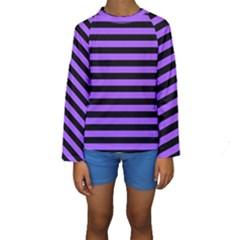 Purple Stripes Kid s Long Sleeve Swimwear