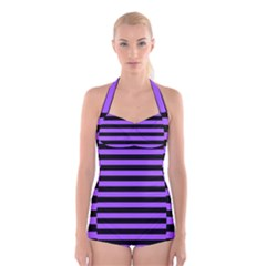 Purple Stripes Boyleg Halter Swimsuit