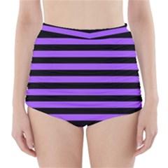 Purple Stripes High-Waisted Bikini Bottoms