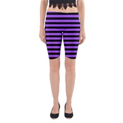 Purple Stripes Yoga Cropped Leggings