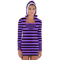 Purple Stripes Women s Long Sleeve Hooded T-shirt