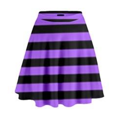 Purple Stripes High Waist Skirt