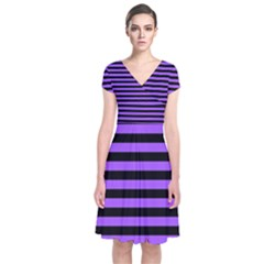 Purple Stripes Short Sleeve Front Wrap Dress
