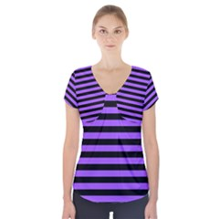 Purple Stripes Short Sleeve Front Detail Top