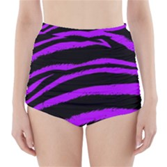 Purple Zebra High-Waisted Bikini Bottoms