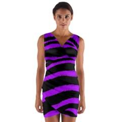 Purple Zebra Wrap Front Bodycon Dress