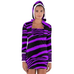 Purple Zebra Women s Long Sleeve Hooded T Shirt