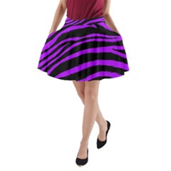Purple Zebra A-Line Pocket Skirt
