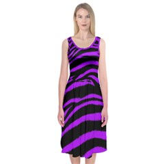 Purple Zebra Midi Sleeveless Dress