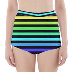 Rainbow Stripes High-Waisted Bikini Bottoms